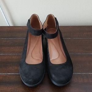 Clarks Black Claribel Ankle Strap Wedge Size 10